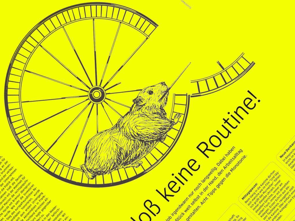 Bloss keine Routine Hamster Grafik Moodbild wk|manufaktur